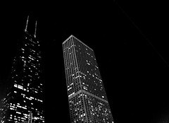 Star Light, Building Bright (Olivia Leigh) Tags: windows blackandwhite bw chicago canon lights michiganavenue hancock johnhancock magnificentmile goldcoast chicagoist 1850mm 400d rebelxti