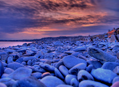 Nice Beach (new version) (Semi-detached) Tags: pink sunset sky orange france beach clouds french mackerel high nice mediterranean 500v20f dynamic stones yay cote range hdr dazur rmw rmmj 30faves30comments300views superaplus aplusphoto superhearts