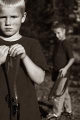 Soldiers (sgt buzfuz) Tags: light boys sepia kids d50 children nikon natural drew soldiers zack sgtbuzfuz