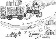 Cartoon comparing farming for maize between Zambia and Zimbabwe