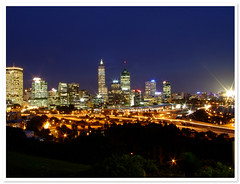 Perth City - City of Light (autumn_leaf) Tags: city longexposure skyline night lights cityscape nightshot dusk perth citylights cbd kingspark westernaustralia cityatnight cityoflights helluva nightimage