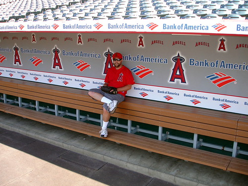 Marc in the Angels dugout