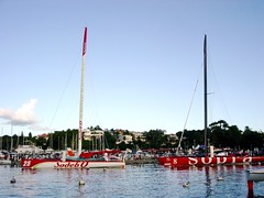Trimarans at pier (MacEnsteph) Tags: france sailboat race caribbean sailboats guadeloupe antilles trimaran sailingboat frenchwestindies fwi orma sodebo routedurhum routedurhum2006 routedurhumlabanquepostale sopragroup pointeàpitre