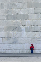 Back Against the Wall (Lynn Fagerlie) Tags: boy red cute scale wall washingtondc dc big child little bricks gray minimal lynn tiny short minimalism washingtonmonument teeny minimalistic dwarfed fagerlie aplusphoto