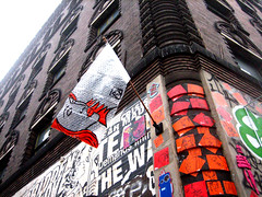 (C-Monster) Tags: nyc orange streetart newyork graffiti celso manhattan flag soho gothamist bubblewrap 11spring woostercollective flutter candlebuilding tweekz supahstah