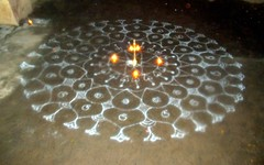 Karthigai (Kamala L) Tags: india beautiful lamps kolam karthigai
