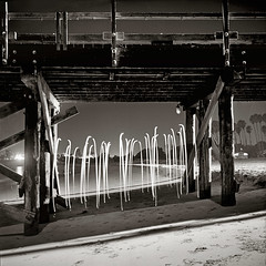 Torii (after Sato) (Toby Keller / Burnblue) Tags: longexposure toby blackandwhite bw lightpainting beach night square landscape keller pier fuji led lubitel goleta acros tobykeller burnblue aftersato