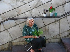 Kiev subway, selling flowers (GrusiaKot) Tags: street flowers urban woman female sad market streetlife social ukraine elder oldwoman lonely society ukrainian kiev selling kyiv ukraina postsoviet  ucraina  wonflickua