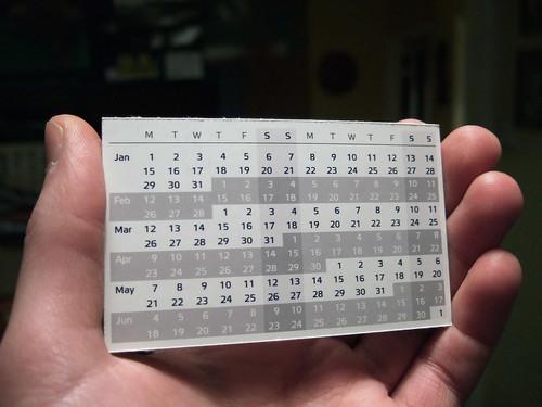 Compact Calendar Card - Design 3 (by Joe Lanman)
