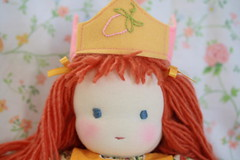 doll's birthday crown (UncommonGrace) Tags: birthday orange yellow strawberry handmade embroidery sewing felt waldorfdoll birthdaycrown sixyearsold