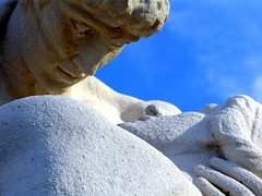 Devotion (Nicote) Tags: blue sky woman white man male love face look statue female germany couple hand faces stuttgart sunny relationship harmony devotion trust february shoulder facetoface mirada protection blick 2007 confidence