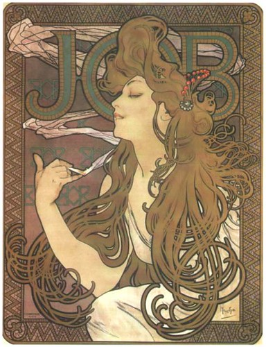 Alphonse Mucha, Papier a Cigarettes Job ad, 1896 c