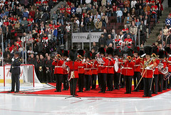 Governor General's Foot Guards Band (eriktemple30) Tags: red toronto ontario canada scarlet fur drums foot maple place fuzzy ottawa band hats governor marching torontomapleleafs trombone vs guards coats tuba leafs scotiabank generals lyndon senators bearskin ceremonial tunic ottawasenators slewedge