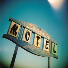 Debonair Motel Sign #1 (tstrayer76) Tags: blue sky 120 6x6 sign mediumformat holga colorful toycamera indiana lightleaks holgagraphy supershot lightleaksmagazine abigfave debonairmotel stateroad67 news21