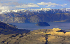 Mountain layers (katepedley) Tags: new winter light newzealand lake snow mountains rock landscape island dof depthoffield panasonic zealand southisland geology wanaka lakewanaka middleearth fz30 schist otagonz outstandingshots utatafeature goldenphotographer