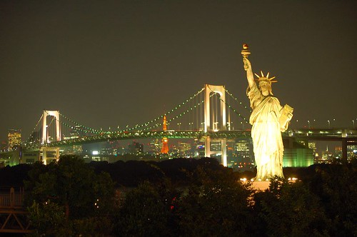 Rainbow bridge with Statue of Liberty and Tokyo Tower