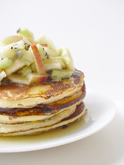 ricotta pancakes with fruit on top