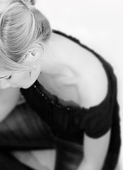 Thinking (der.martin) Tags: portrait woman white black girl contrast dof close noiretblanc think thoughtful sensual neckline clavicles