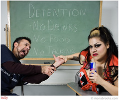Bully (SFMONA) Tags: sf silly fashion costume hurt classroom mean concept ideal conceptual bully redbull detention