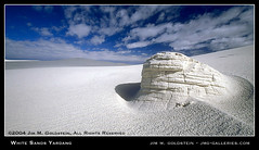 White Sands Yardang (jimgoldstein) Tags: blue sky favorite cloud white newmexico film nature landscape photo sand desert whitesands dune wideangle slide erosion formation geology top20landscape gypsum middleofnowhere whitesandsnationalmonument geographile specland specnature abigfave yardang jmggalleries jimmgoldstein