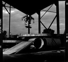 JacksonTaylorBigFlipIN (candersonclick) Tags: jacksontaylor kickflip skateboarding abandoned diy blackwhite trix hasselblad slaves 80mm chicago