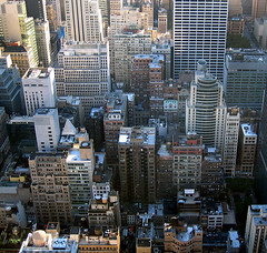 new york is busy (shimonkey) Tags: city urban ny newyork canon buildings skyscrapers rockefeller s410 topoftherock packed dense