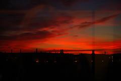 sky on fire (dekoekkoek) Tags: deleteme5 sunset red deleteme8 chimney sky deleteme deleteme2 deleteme3 deleteme4 deleteme6 deleteme9 deleteme7 night train fire view deleteme10 saveme11