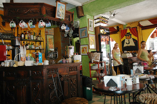 Art Cafe Waitresses & Bar - Puerto Vallarta, the old section, cafe on zona romantica Puerto Vallarta, Jalisco state, Mexico by Wonderlane