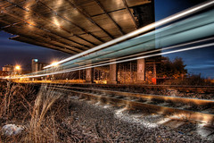 Silver Streak (Stevacek) Tags: railroad bridge light speed train d50 lens nikon czech rail railway most express lighttrails hdr jicin vlak svetlo zeleznice rychlik 30faves30comments300views