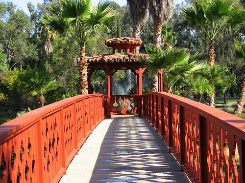 Walking over the bridge to the gazebo