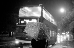 Night Bus (Telenous) Tags: leica rain umbrella fuji nocturnal rangefinder neopan 35 m2 summilux manualfocus asph leicam2 fujineopan400 nightbus summilux35asph leicasummilux35mmf14asph ei1250 telenous