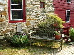 Bench on Cobblestone Porch