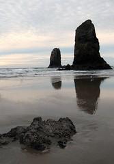 Cannon Beach Needles (KellieB.) Tags: reflection oregoncoast cannonbeach theneedles