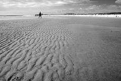 Longboard - Surfing the Oregon Coast (Nativeagle) Tags: longboard surfing surf board oregon florence beach sand ocean waves nikon d70 native navajo nativeagle bw conversion