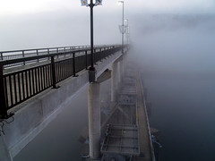 Big Dam Bridge and fog
