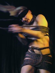 Captivating (Linus Gelber) Tags: nyc newyork escape lowereastside performance ropes tied captive bound burlesque slipperroom julieatlasmuz roped ropedandtiedaltarboundhypnotized