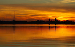 The Golden Hour. (BamaWester) Tags: sunset sky orange sun lake reflection nature water silhouette outside outdoors topf75 bravo quality alabama decatur ripples 1000v100f thegoldenhour 999v9f 1000v40f bamawester napg abigfave outstandingshot anawesomeshot