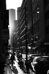 flinders lane 1 (ziz) Tags: sunset blackandwhite silhouette shadows australia melbourne victoria rialto flinderslane pedestriancrossing centreplace shoppingbags thequarter