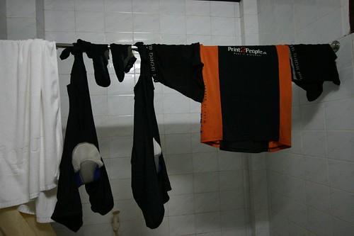 Trying to dry my cycling clothes in the humid climate. Hoi An, Vietnam.