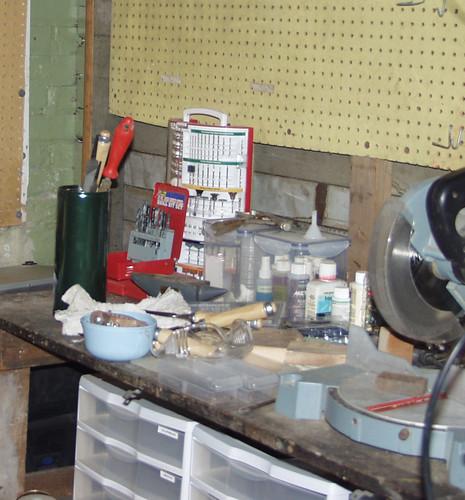 the rearranged shop desk