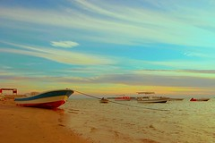 Blue Sunset (Hussain Isa) Tags: blue sky beach water yellow canon eos boat bahrain village explore manama duraz himd explorex bahain hussainisa
