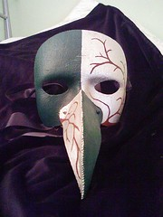 Green & silver winter tree mask