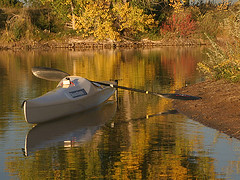 Kayak photo study in fall colors (photokayaker) Tags: lake fall water colors gold colorado kayak fort paddle collins paddling