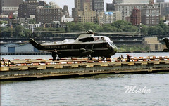 US Marine One.Presidential helicopter lands on Manhattan pier. (Misha_NYC) Tags: sea sky usa cloud white green usmc one fly us washington marine king force flag aircraft secret military air united president political navy presidential collection helicopter seal corps transportation vip service states executive blades hover rotor potus heliport sikorsky vh3d vh3 hmx1 quanitco