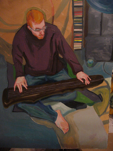 painting of joshua playing guqin (Sparkle) by american artist clara griffin