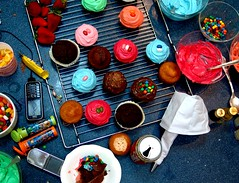 Miin mheD (   ) Tags: blue red green kitchen colors fun cupcakes nokia mobiles mms strawberries coke messy hotpink