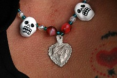Da de los Muertos necklace (gwen) Tags: blue autumn red white selfportrait cold fall 20d tattoo self skull necklace heart jewelry bead gwen alameda corazon milagro brr calavera muerto dadelosmuertos chickenskin madebygwen dasdelosmuertos