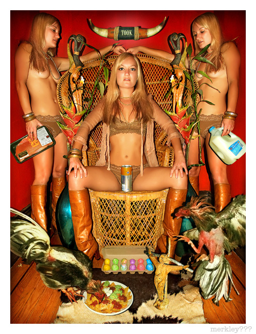 Adrienne - Flanked By Clones, Enjoys Energy Booze & Queenishly Poses on a Wicker Throne as a Folksy Crucified Jesus Appears To Intervene in a Potential Melée Between His 12 Disciples, Two Roosters & a Plate of Nachos (Cow Products at 12, 3, 6 & 9 O'Clock)