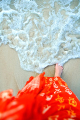Twinkletoes #1 (Wen Nag (aliasgrace)) Tags: vacation orange holiday beach water foot asia southeastasia leg 2550fav malaysia wade langkawi dataibay hotelandaman thepinnaclehof tphofweek60