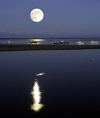 Moon Rise over Chatham Harbor. (Chris Seufert) Tags: moon ma harbor town photo fishing massachusetts chatham cape cod lunar abigfave abigfav